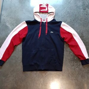 Lacost Sports Hoodie Jacket Zip Up Red Navy White